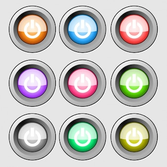 Colorful Power Button Collection