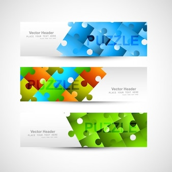 Colorful puzzle headers