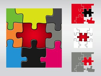 Colorful puzzle pieces connections game