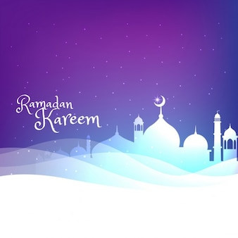 Colorful ramadan background with mosque silhouette