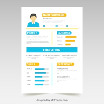 Colorful resume template with infographic elements