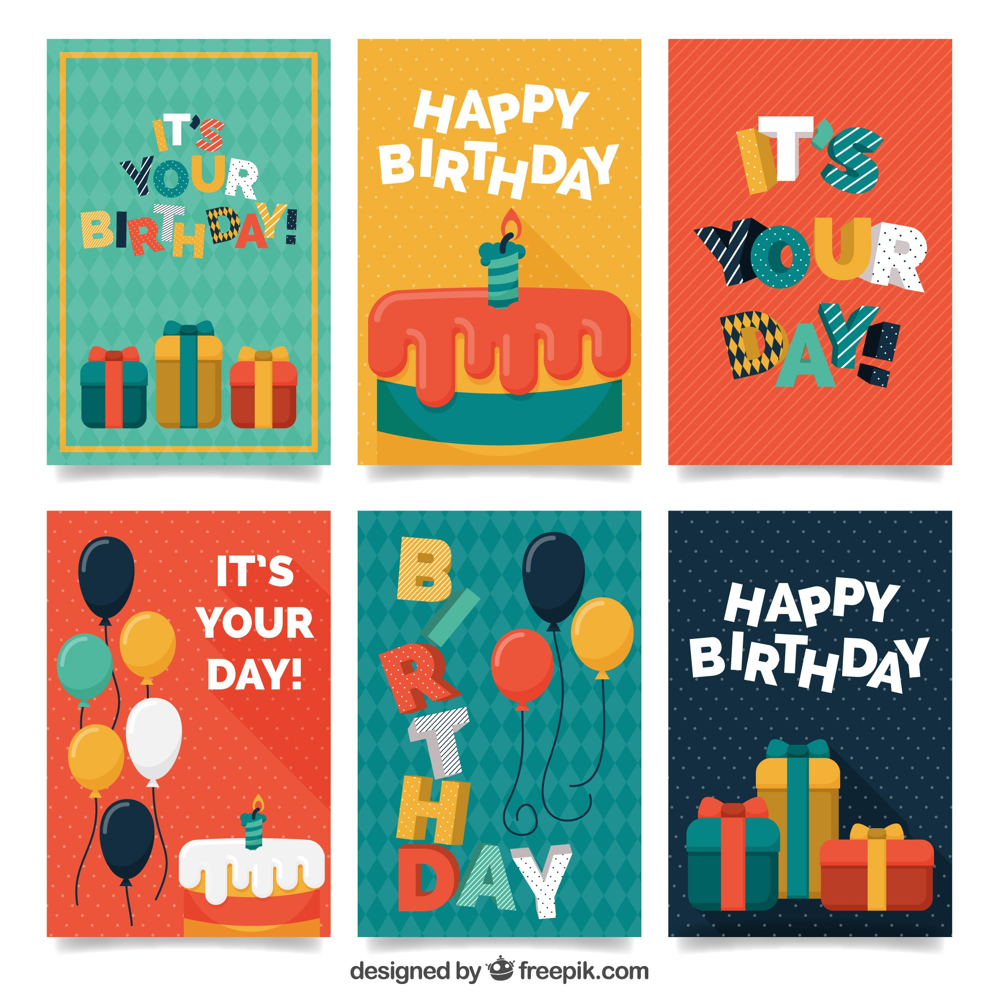 Colorful retro birthday greeting collection