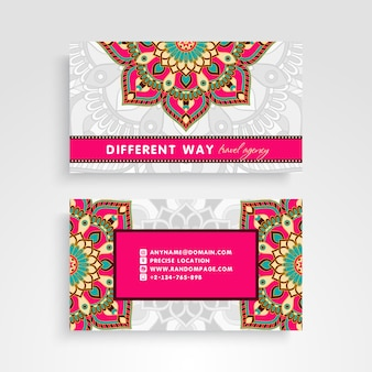Colorful retro business card with mandala decoration