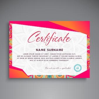 Colorful retro certificate