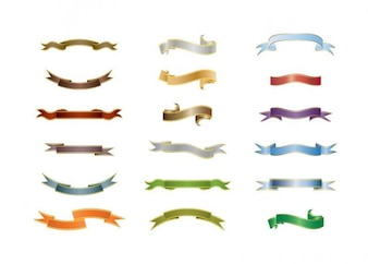 colorful ribbons set vector pack