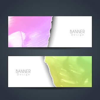Colorful ripped paper style watercolor banners