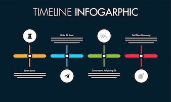 Colorful roadmap timeline Infographics layout with 4 steps.