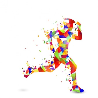 Colorful runner made of polygons