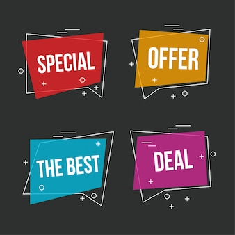 Colorful sale banners on dark background