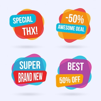 Colorful sale labels set
