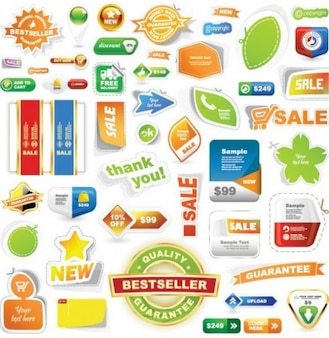 colorful sales sticker and labels vector