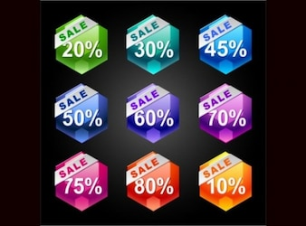Colorful sales stickers high quality vector