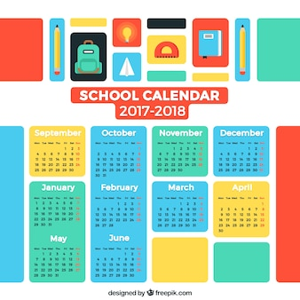 Colorful school calendar 2017-2018