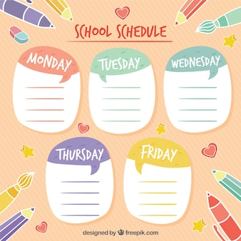 Colorful school schedule with pink background