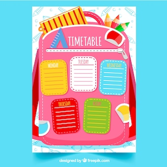 Colorful school timetable on the backpack