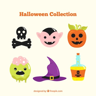 Colorful selection of halloween elements