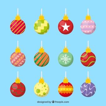 Colorful set of christmas balls
