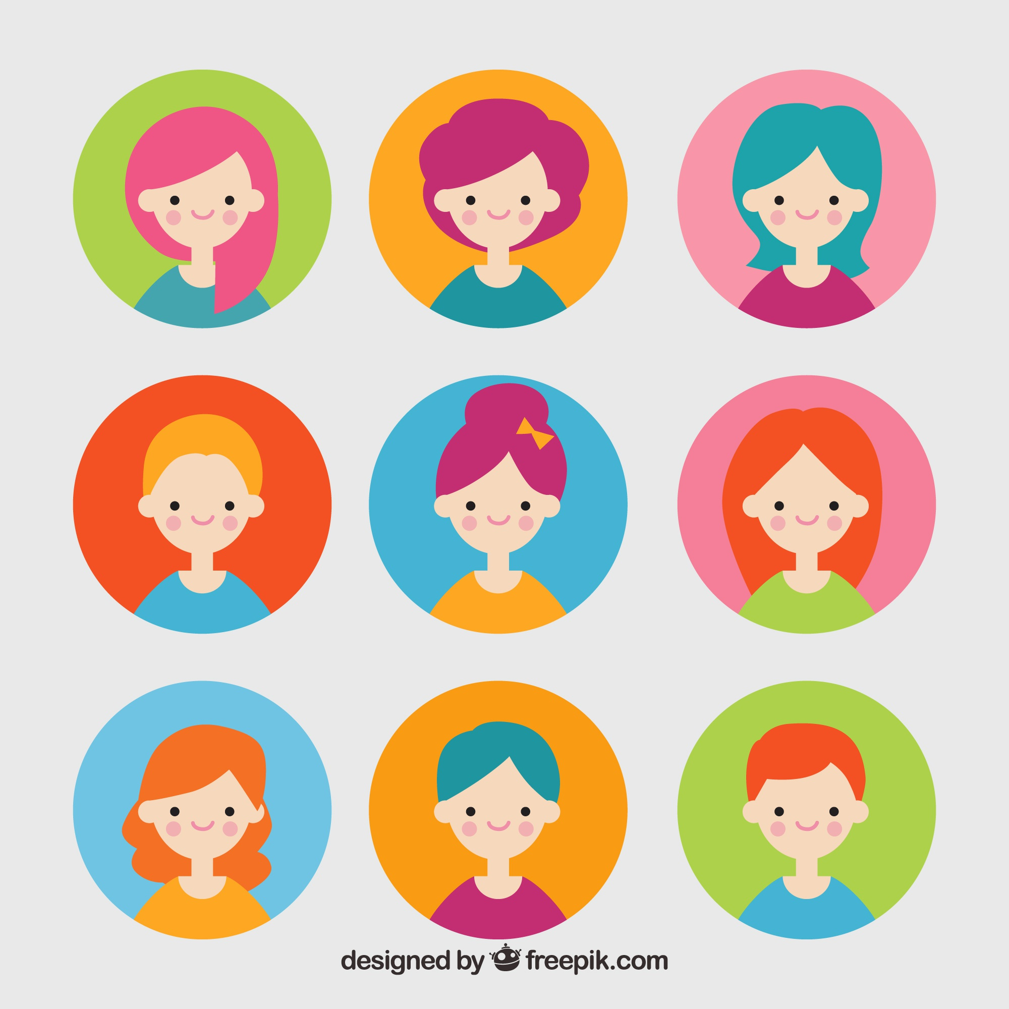 Colorful set of female avatars