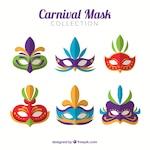 Colorful set of flat carnival masks