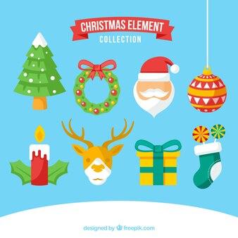 Colorful set of flat christmas elements