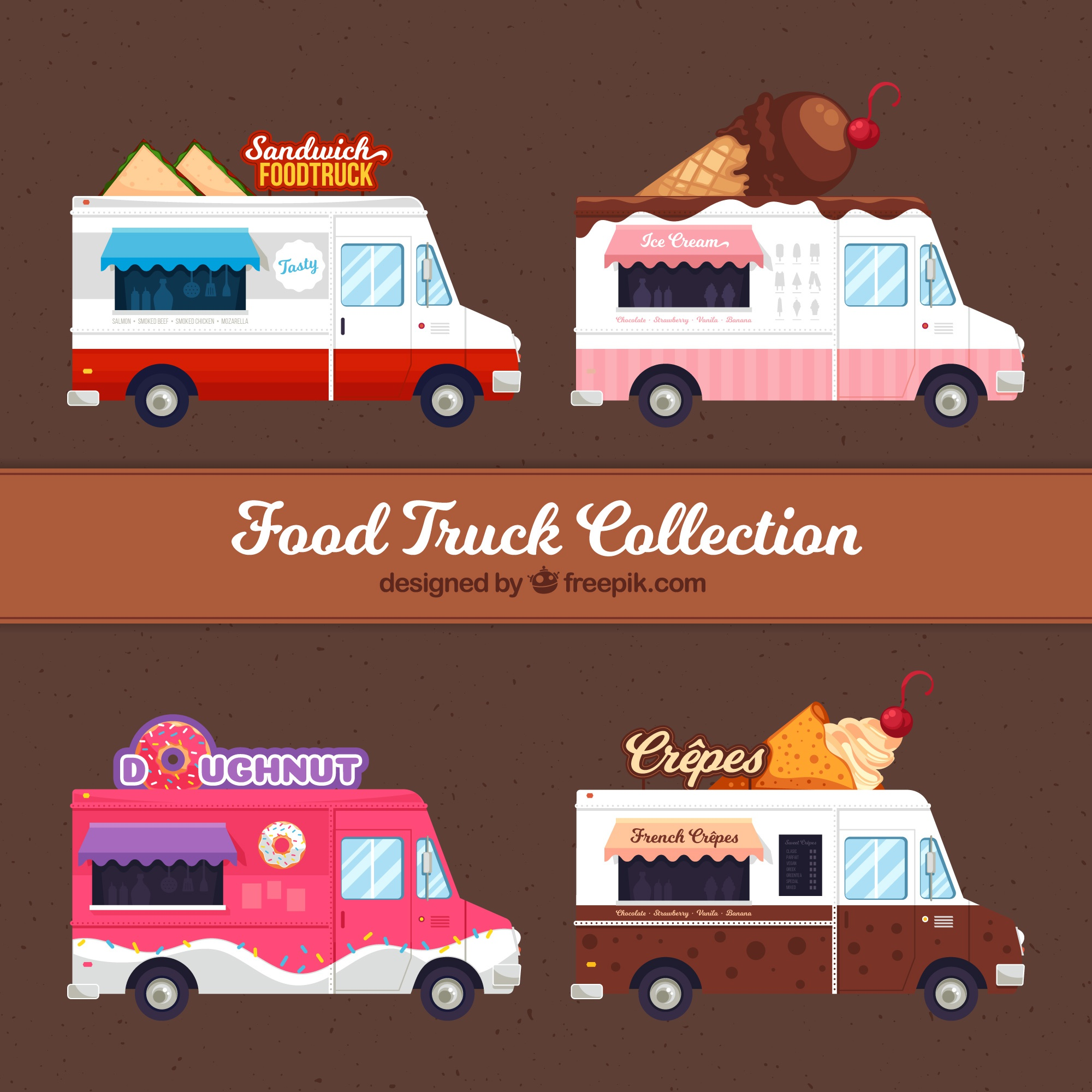 Colorful set of food trucks with desserts