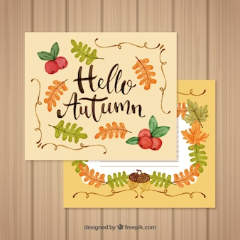 Colorful set of hand drawn autumn cards