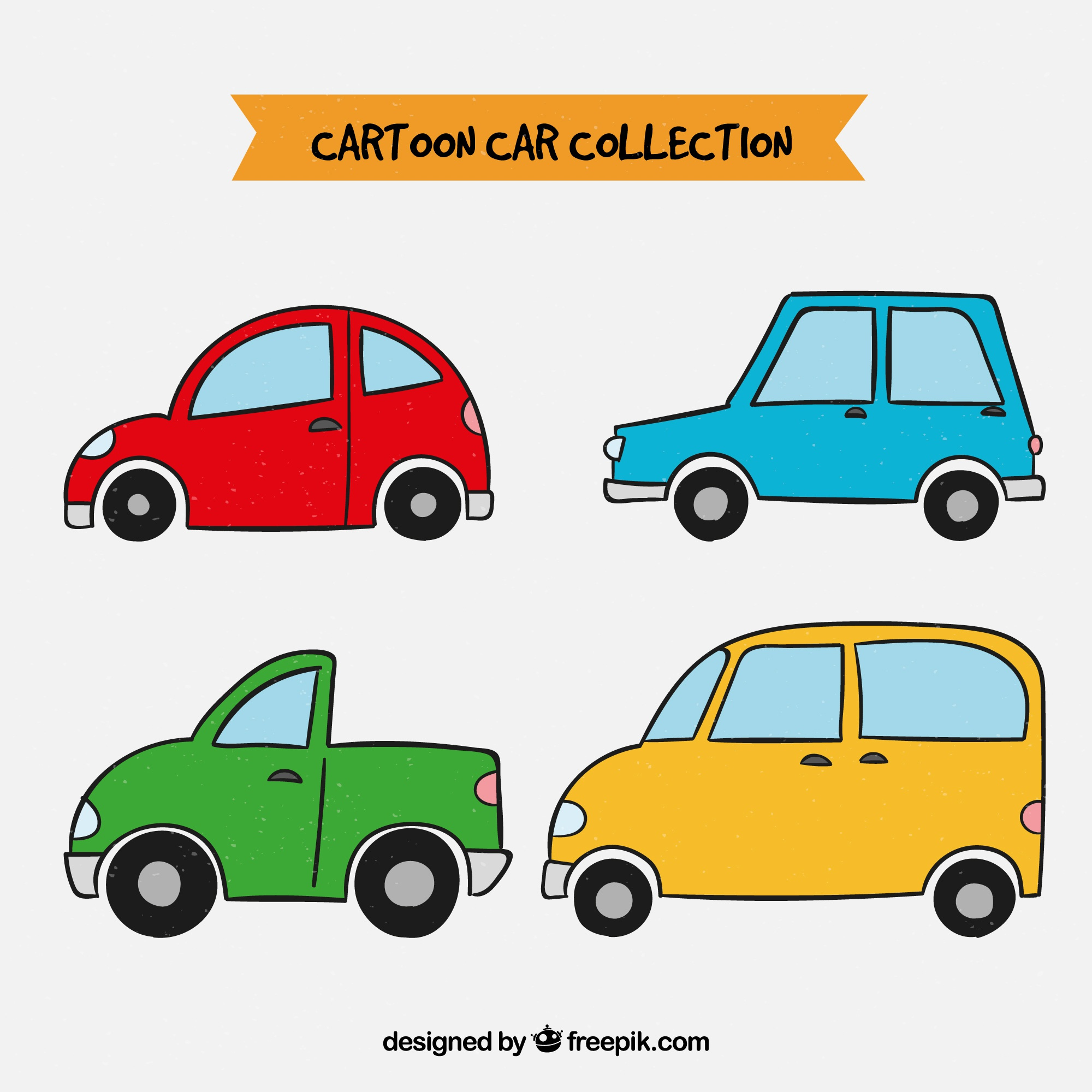 Colorful set of hand drawn cars
