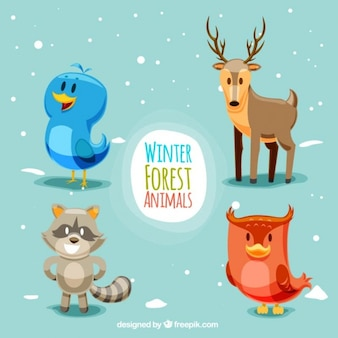 Colorful set of happy forest animals