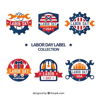 Colorful set of labor day labels