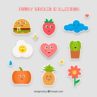 Colorful set of lovely stickers