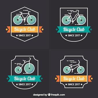 Colorful set of vintage bike logos