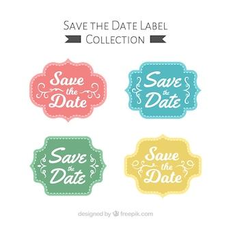 Colorful set of wedding badges