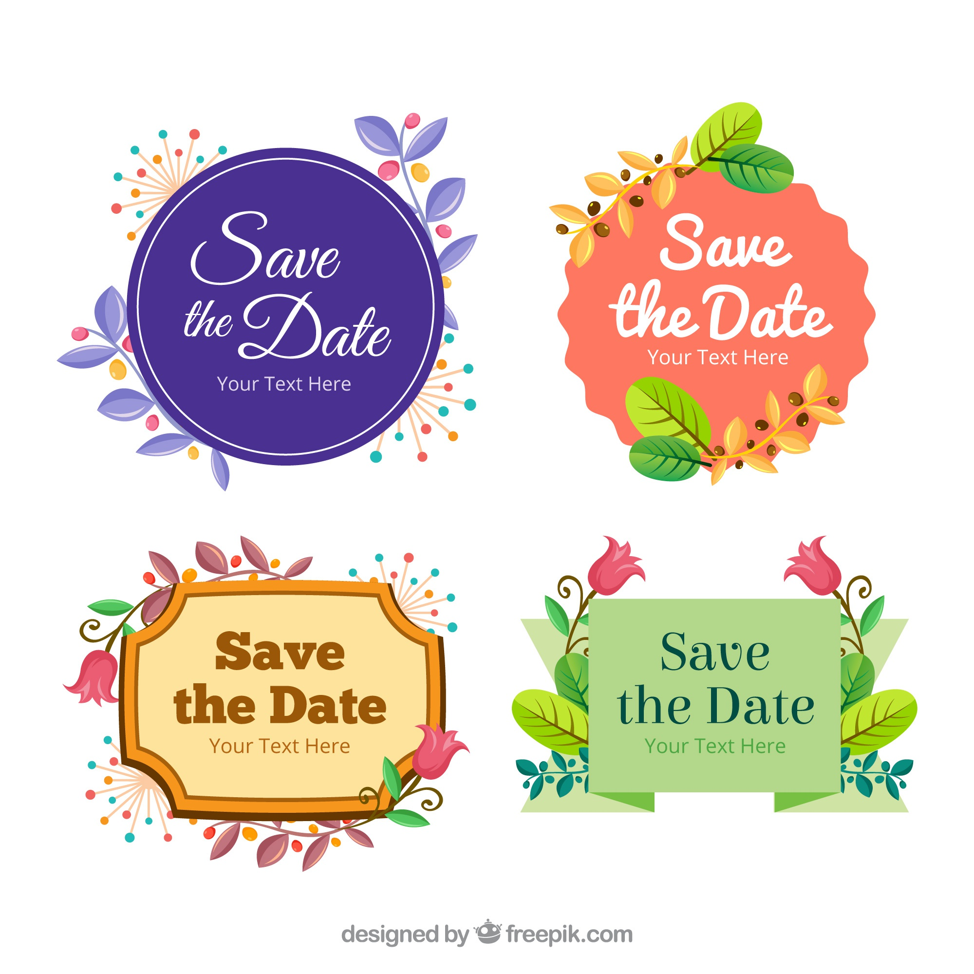 Colorful set of wedding labels with flat design