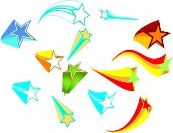 Colorful shooting stars set