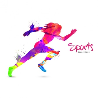 Colorful silhouette of runner