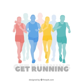 Colorful silhouettes of runners background