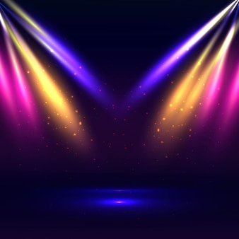 カラフルなライトの背景と美しいステージ
