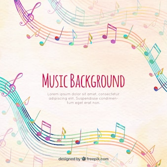 Colorful staves background with musical notes