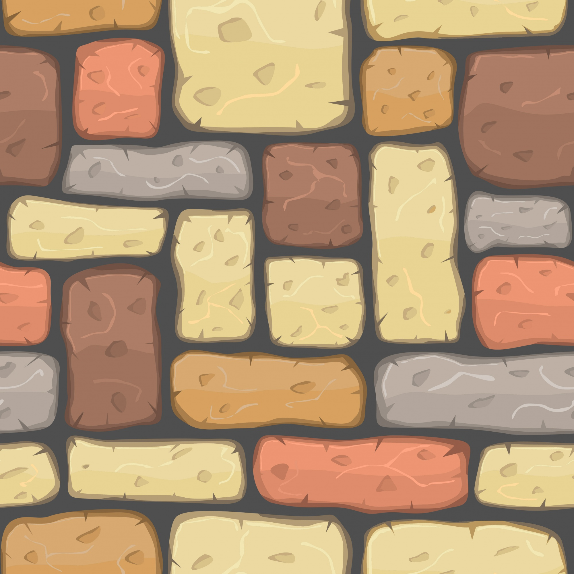 Colorful stone wall with cartoon style