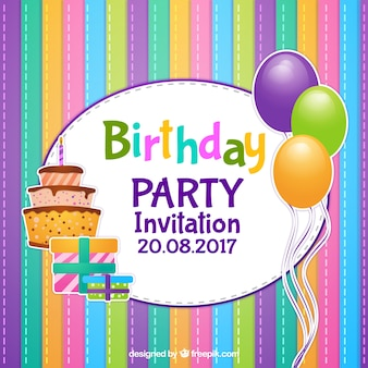 Colorful striped birthday invitation with balloons and cake