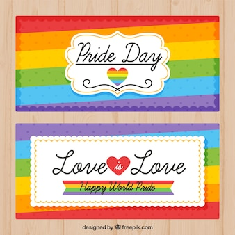 Colorful stripes of pride day banner