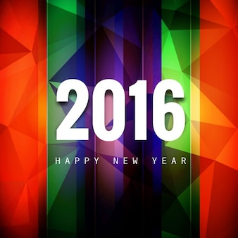 Colorful stylish new year 2016 greeting card