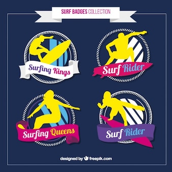 Colorful surf badge collection