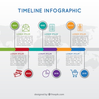 Colorful template of timeline infographic