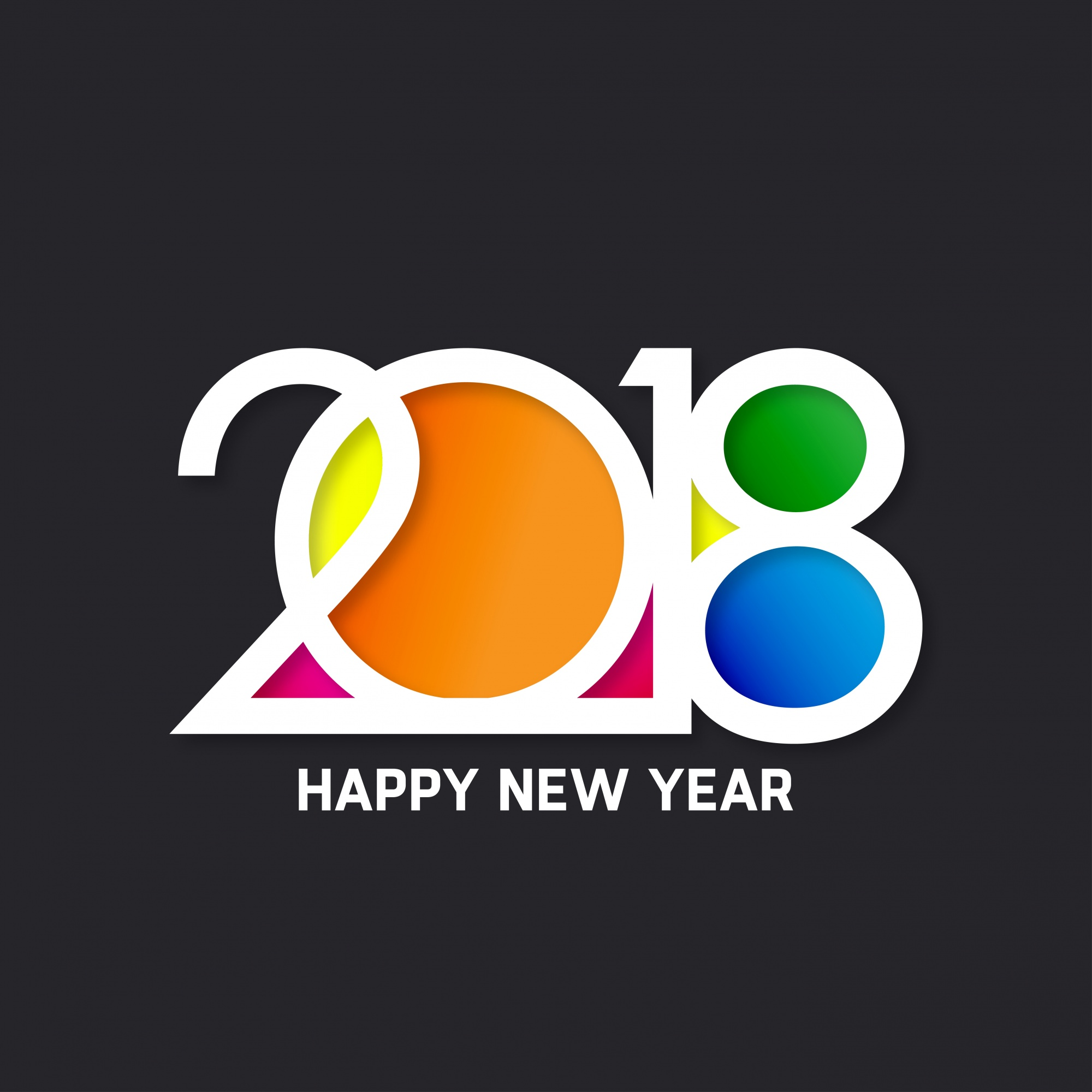 Colorful text design for new year 2018