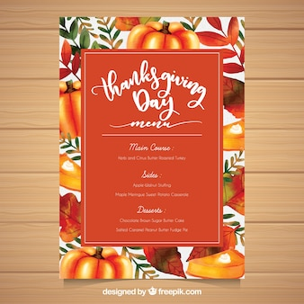 Colorful thanksgiving menu template
