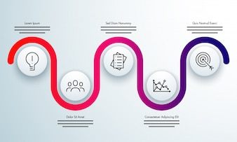 Colorful timeline Infographics layout with 5 steps.