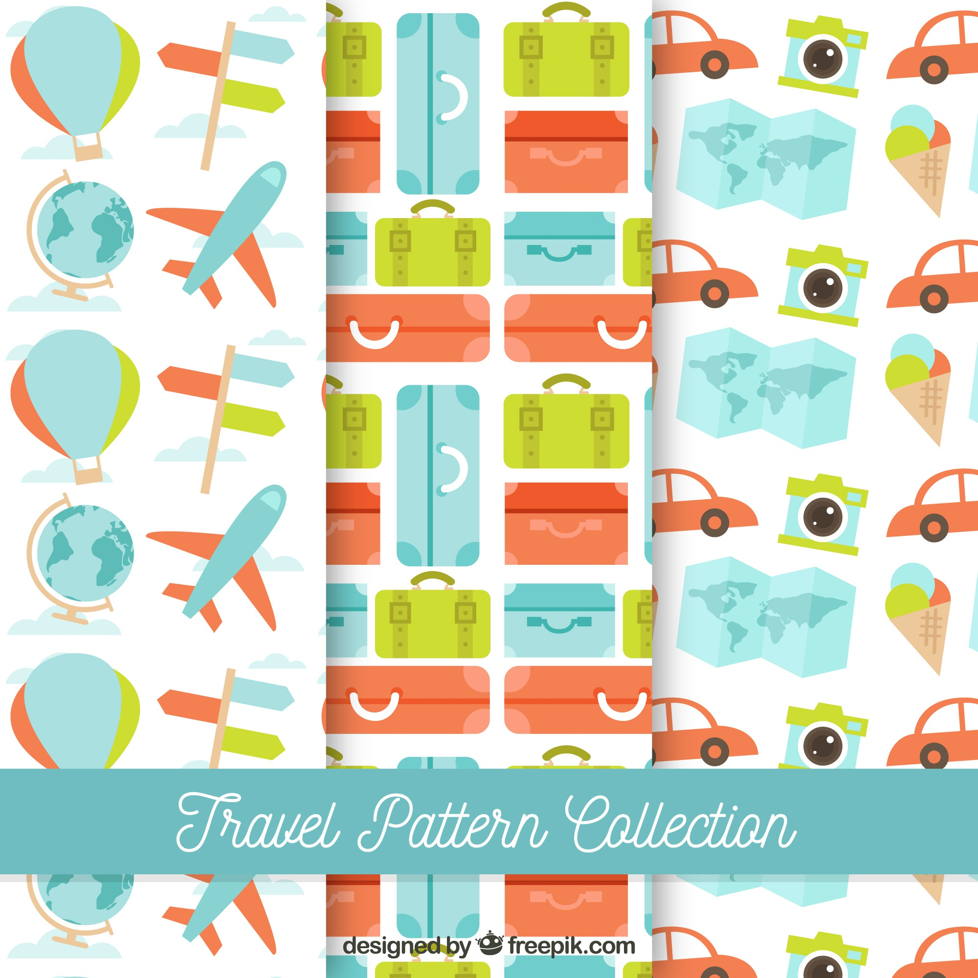Colorful travel pattern collection