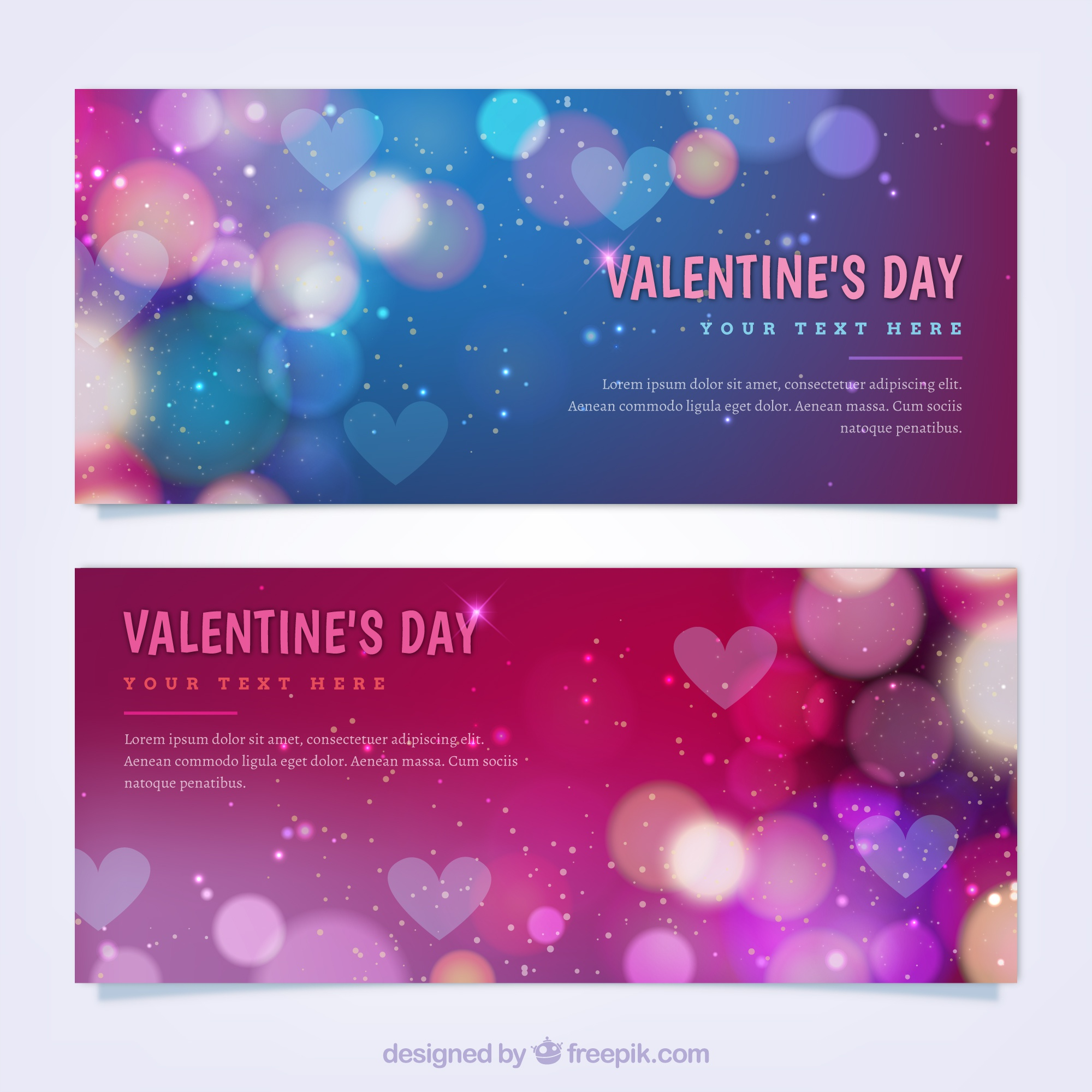 Colorful valentine's day banners with bokeh effect