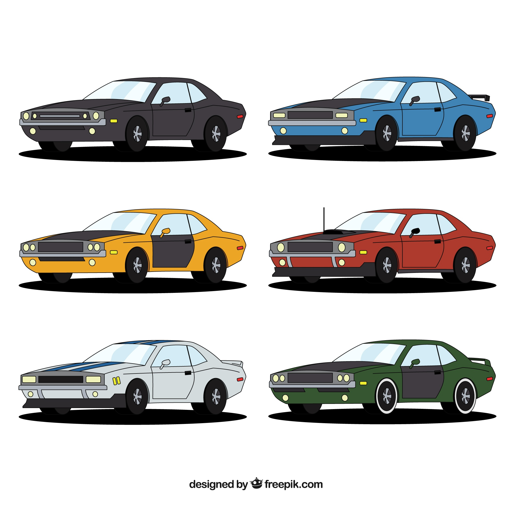 Colorful variety of american cars